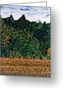 Carolina Painting Greeting Cards - Tobacco Field at Old Milburnie Road Greeting Card by Micah Mullen