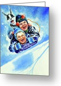 Winter Art Greeting Cards - Toboggan Terrors Greeting Card by Hanne Lore Koehler