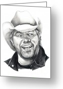 Pencil Drawing Drawings Greeting Cards - Toby Keith Greeting Card by Murphy Elliott