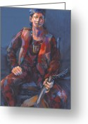 Guitar Pastels Greeting Cards - Toby Troubador Greeting Card by Joan  Jones