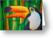 Colourful Tapestries - Textiles Greeting Cards - Toco Toucan Greeting Card by Daniel Jean-Baptiste