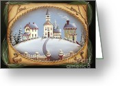 Village Church Greeting Cards - Today in the town of David... Greeting Card by Catherine Holman