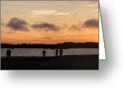 Surf Silhouette Greeting Cards - Tofino sunset Greeting Card by Ivan SABO