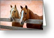 Quarter Horses Greeting Cards - Together Greeting Card by Doug Long