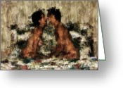 Kisses Digital Art Greeting Cards - Together Greeting Card by Kurt Van Wagner