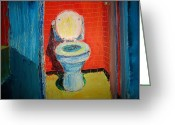 Old Potty Greeting Cards - Toilet Painting Greeting Card by John Geannaris
