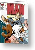 Comic. Marvel Greeting Cards - Toilet Paper Man Greeting Card by Dan Fluet