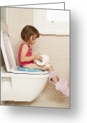 Toilet Paper Greeting Cards - Toilet Training Greeting Card by Ian Boddy