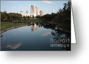 Highrises Greeting Cards - Tokyo Highrises with Garden Pond Greeting Card by Carol Groenen
