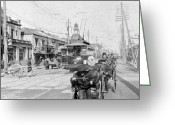 333 Greeting Cards - Tokyo Japan - c 1905 - Ginza thoroughfare Greeting Card by International  Images