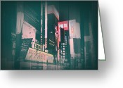 Streets Digital Art Greeting Cards - Tokyo Lights Greeting Card by Irina  March