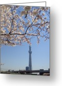Communications Tower Greeting Cards - Tokyo Sky Tree Greeting Card by Hisako Hatakeyama