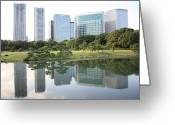 City Garden Greeting Cards - Tokyo Skyline Reflection Greeting Card by Carol Groenen