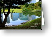 City Garden Greeting Cards - Tokyo Skyscrapers Reflection Greeting Card by Carol Groenen