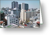Parking Lot Greeting Cards - Tokyo Skyscrapers Greeting Card by Spiraldelight