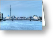 Tokyo Greeting Cards - Tokyo Skytree Sumida Evening Greeting Card by Copyright Peter F. Gordon