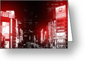 City Street Greeting Cards - Tokyo Street Greeting Card by Irina  March