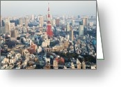 Communications Tower Greeting Cards - Tokyo Tower And Skyline, Tokyo, Japan Greeting Card by Peter Adams