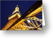 Communications Tower Greeting Cards - Tokyo Tower At Night Greeting Card by By Counteragent