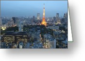 Communications Tower Greeting Cards - Tokyo Tower Greeting Card by @kazuend
