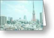 Communications Tower Greeting Cards - Tokyo Tower Greeting Card by Shigeto Sugita