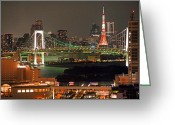 Communications Tower Greeting Cards - Tokyo Tower Greeting Card by The landscape of regional cities in Japan.