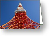Communications Tower Greeting Cards - Tokyo Tower, Tokyo, Japan Greeting Card by Peter Adams