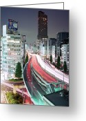On The Move Greeting Cards - Tokyo, Urban Expressway At Night Greeting Card by Stefan Frid
