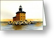Toledo Greeting Cards - Toledo Harbor Lighthouse Greeting Card by Michael Vigliotti