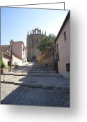 Toledo Greeting Cards - Toledo Steps to Cathedral Greeting Card by John A Shiron