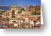 Toledo Greeting Cards - Toledo Town View Greeting Card by Joan Carroll