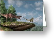 Theropod Greeting Cards - Tolerate No Competition  Greeting Card by Daniel Eskridge