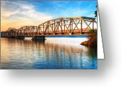 Bridge Prints Greeting Cards - Toll Bridge Sunrise Greeting Card by James Marvin Phelps
