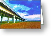 Florida Bridge Mixed Media Greeting Cards - Toll Road Greeting Card by Dominic Piperata