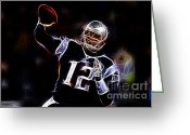 Sports Art Photo Greeting Cards - Tom Brady - New England Patriots Greeting Card by Paul Ward