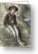 Tom Boy Greeting Cards - Tom Sawyer, 1876 Greeting Card by Granger
