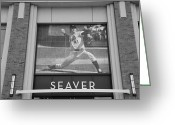 Ball Parks Greeting Cards - TOM SEAVER 41 in BLACK AND WHITE Greeting Card by Rob Hans