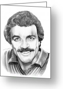 Famous People Drawings Greeting Cards - Tom Selleck Greeting Card by Murphy Elliott