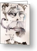 Contemporary Portraits. Greeting Cards - Tom Waits as Tom Waits Greeting Card by Mark M  Mellon