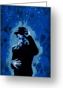 Spraypaint Greeting Cards - Tom Waits Greeting Card by Iosua Tai Taeoalii