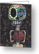 Surreal Tapestries Textiles Greeting Cards - Toma mi Corazon Greeting Card by  Abril Andrade Griffith