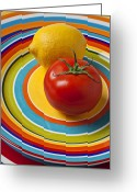 Lemons Greeting Cards - Tomato and lemon  Greeting Card by Garry Gay