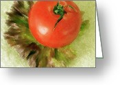 Still Life Greeting Cards - Tomato And Lettuce Greeting Card by Ben and Raisa Gertsberg