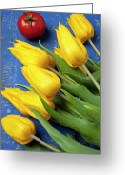 Food And Beverage Greeting Cards - Tomato and tulips Greeting Card by Garry Gay