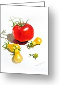 Watercolor By Irina Greeting Cards - Tomato Dance Greeting Card by Irina Sztukowski