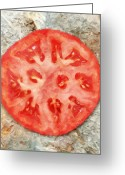 Tomato Digital Art Greeting Cards - Tomato Delicious Slice of Fruit Greeting Card by Tracie Kaska
