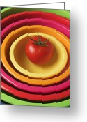 Food And Beverage Greeting Cards - Tomato in mixing bowls Greeting Card by Garry Gay