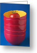 Dishes Greeting Cards - Tomato In Stacked Bowls Greeting Card by Garry Gay