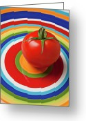 Produce Greeting Cards - Tomato on plate with circles Greeting Card by Garry Gay