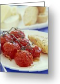 Ripened Fruit Greeting Cards - Tomatoes And Chicken Greeting Card by David Munns
